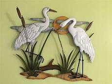 white cranes shoreline coastal nautical metal wall decor sunset birds wall art ebay
