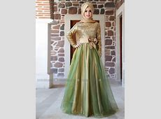 Y189 Formal Muslim Gold Sequin sheer Tulle clothing in