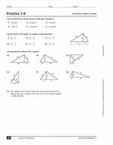 practice 7 4 similarity in right triangles worksheet for 10th 12th grade lesson planet