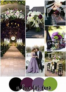 black purple and green wedding colour scheme dark