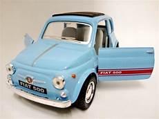 miniatura fiat 500 antigo azul claro 1 24 kinsmart r 37