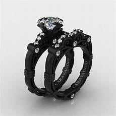 art masters caravaggio 14k black gold 1 25 ct princess white sapphire diamond engagement ring