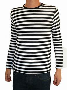 mens stripey t shirt black white nautical mod
