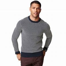 hilfiger textured crewneck sweater in blue for