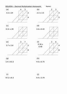 ks4 worksheet l6 gelosia decimal multiplication teaching resources