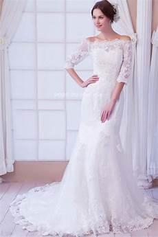 robe de mariée dentelle manches longues robe claissique de mari 233 e manches mi longues 233 paules