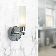 pair of modern chrome ip44 bathroom wall light with pull cord switch zone 2 3 ebay