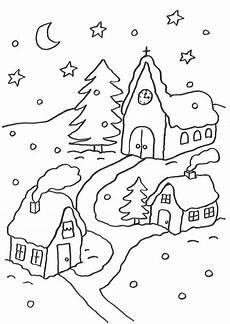 Malvorlage Haus Weihnachten Ausmalbild Weihnachten Verschneites Dorf Kostenlos Ausdrucken