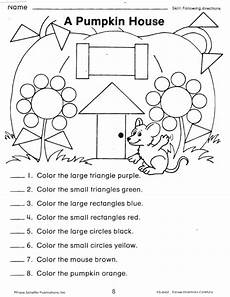 following directions worksheets kindergarten 11712 a pumpkin house shape worksheet maths language pumpkins and student centered