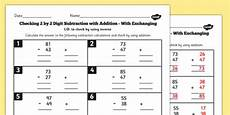 grade 3 inverse checking 2 digit by 2 digit subtraction by addition with