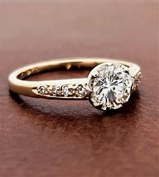 vintage diamond engagement ring 18k yellow gold 1 2ct f vs1 diamond banque