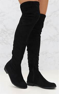 black suede flat thigh high boot shoes prettylittlething