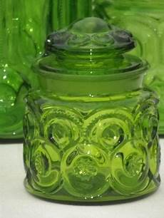 green canisters kitchen green glass moon pattern kitchen canisters vintage canister set