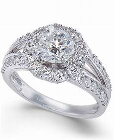 macy s diamond halo engagement ring 2 ct t w in 14k white gold in metallic lyst