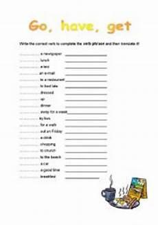 intermediate esl worksheets verb phrases