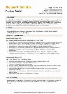preschool teacher resume sles qwikresume