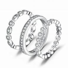 fashion women 3 stackable 925sterling silver engagement
