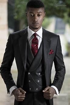 bespoke italian suit for groom in black pinstriped