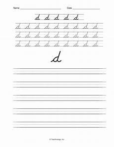 letter d cursive handwriting worksheets 24199 d nealian cursive letters lower letter d practice worksheet