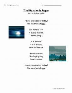weather reading comprehension worksheets 14512 reading comprehension worksheet weather is foggy