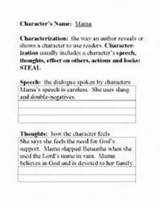 english worksheets steal teaching characterization