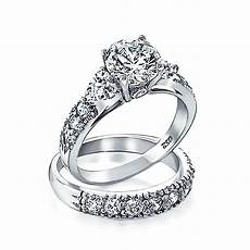 925 silver clear cz heart side stones wedding engagement ring set