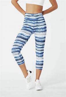 high waisted active legging kleidung in blue tie dye