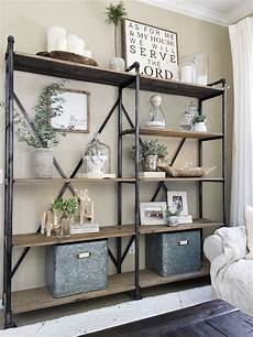 simplified shelves modern farmhouse living room decor