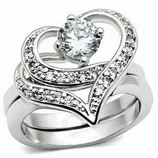 heart desing 2 pcs silver rhodium ep wedding engagement set ladies cz ring ebay