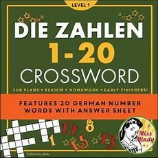 german lessons worksheets 19675 die zahlen german numbers 1 20 crossword puzzle worksheet by miss