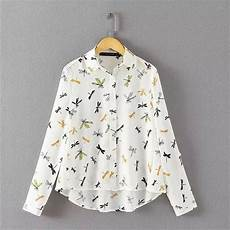 bug print blouse 2017 turn collar blouse insect dragonfly print