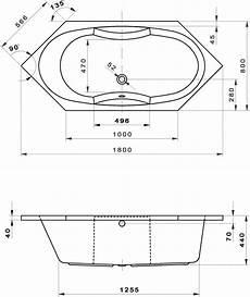 Sechseck Badewanne 180x80 - sechseck badewanne casandra 180 x 80 x 44 cm