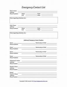 4 free printable forms for single parents daycare forms emergency contact form starting a