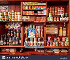 shelves of a 1950 s grocer s shop reconstructed at