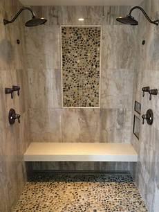 bathroom shower wall tile ideas barrier free shower wall tile 24 x 24 porcelain tile pebble mosaic insert on walls and floor