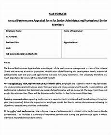 free 6 annual performance appraisal form in sle exle format