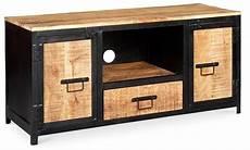 meuble 2 portes 22948 meuble tv 2 portes 1 tiroir manguier massif et m 233 tal noir