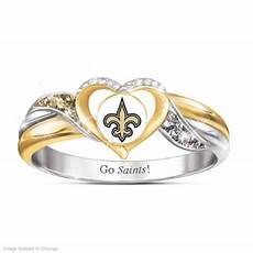 new orleans saints womens 18k gold plated nfl pride ring