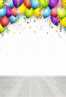 Colorful Balloon Wood Floor Studio Photography by Laeacco Colorful Balloons Sequins Wood Floor Celebration