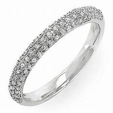 14k white gold diamond pave wedding band stackable