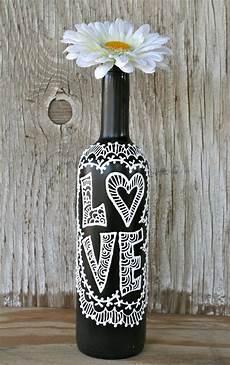 Painted Wine Bottle Black And White Wedding