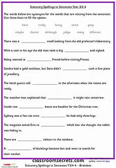 spelling worksheets year 3 22538 year 3 4 statutory spellings in sentences set 3 classroom secrets