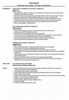 vendor management associate resume sles velvet