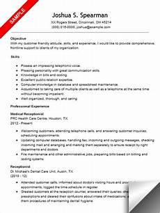 medical receptionist resume sle