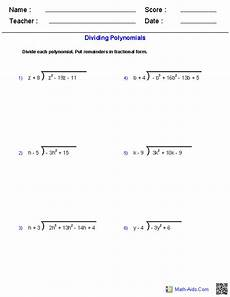 polynomials division worksheets with answers 6969 pin on math aids