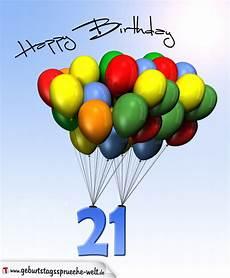 Geburtstagskarte Mit Luftballons Zum 21 Geburtstag