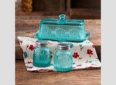 The Pioneer Woman Adeline Glass Butter Dish with Salt And