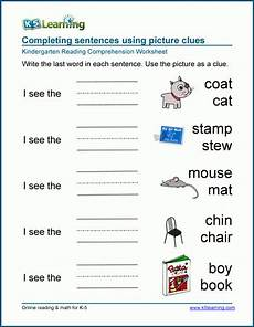 completing sentences worksheets for preschool and