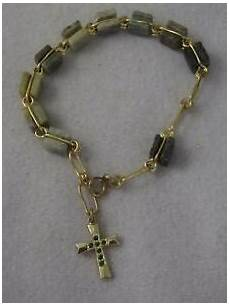 Bakeey Carved Cross Beaded Bracelet by Vintage Carved Square Green Agate Bead Rosary Bracelet W