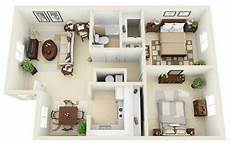 3 ideas for a 2 bedroom home includes floor 20 awesome 3d apartment plans with two bedrooms part 2